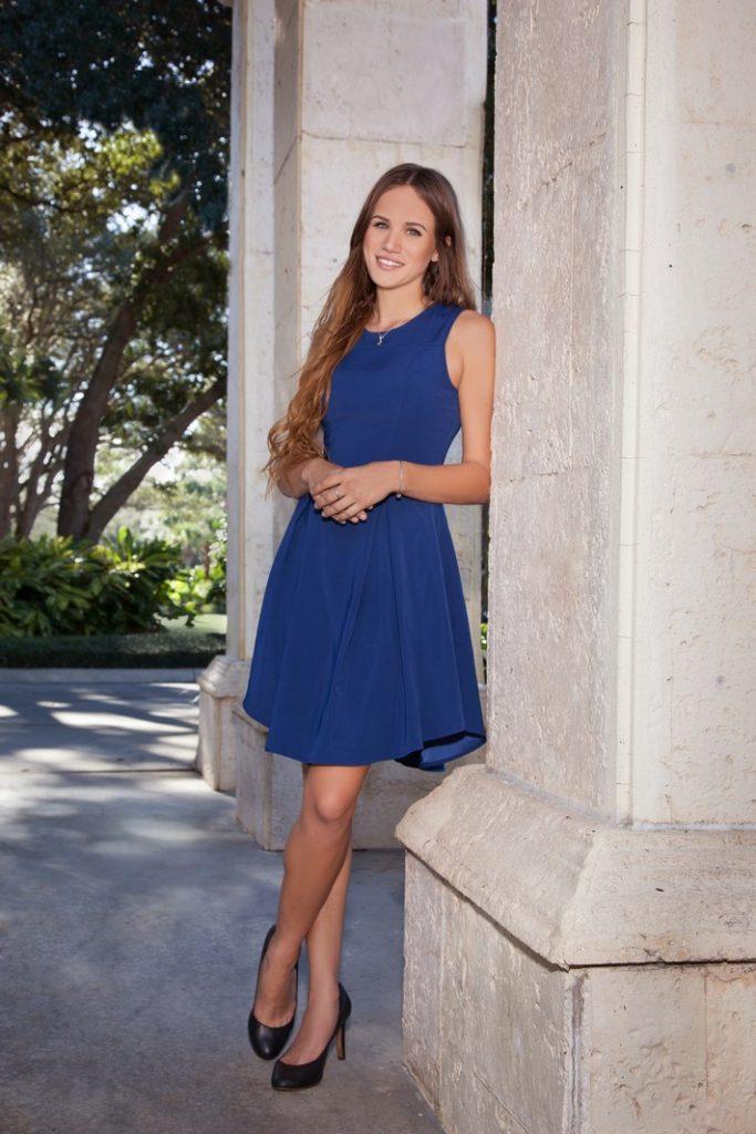 Outdoor Portrait of Woman Wearing a Blue Dress
