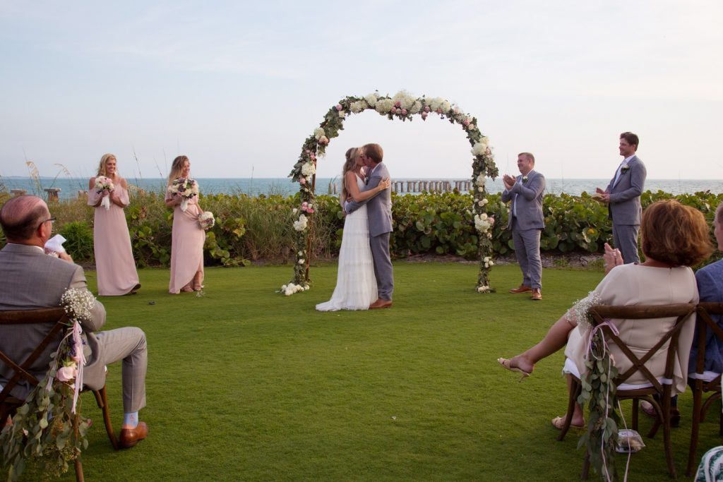 Wedding Ceremony on the lawn at the Pass Club