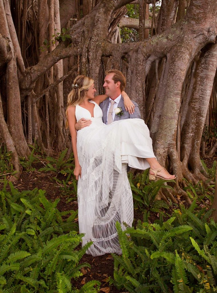 Bride and Groom on Banyan Street on Boca Grande