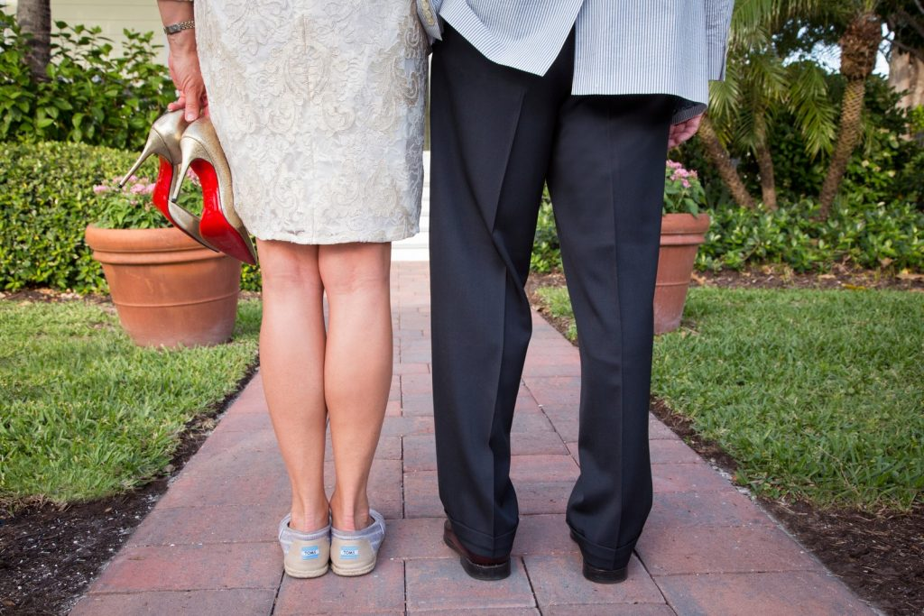 Bride and Groom on Boca Grande - low angle showing shoes
