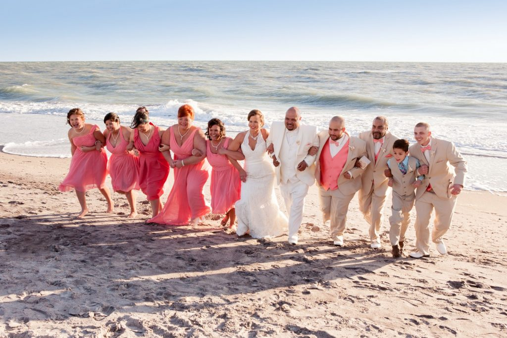 Fun Wedding Party Shot at Englewood Beach FL