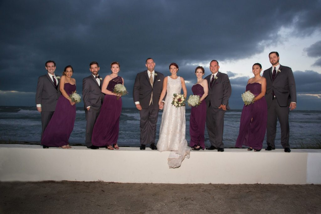 Wedding Party with the Ocean in the Background