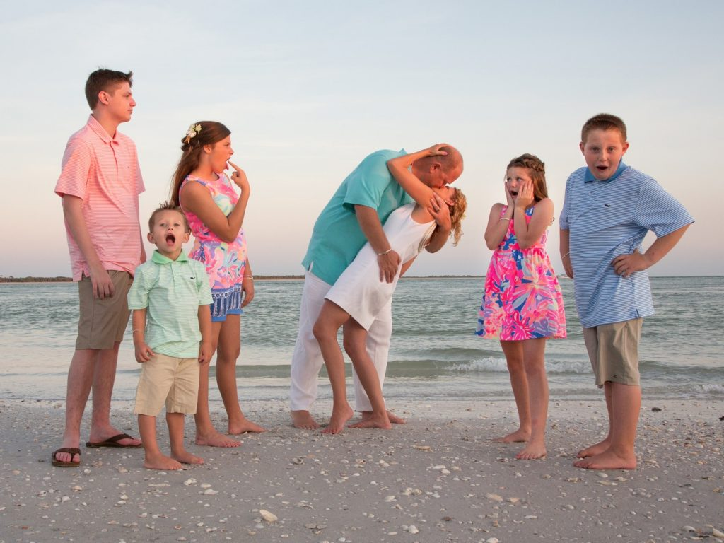 Beach Wedding - Fun Shot of a Blended Family
