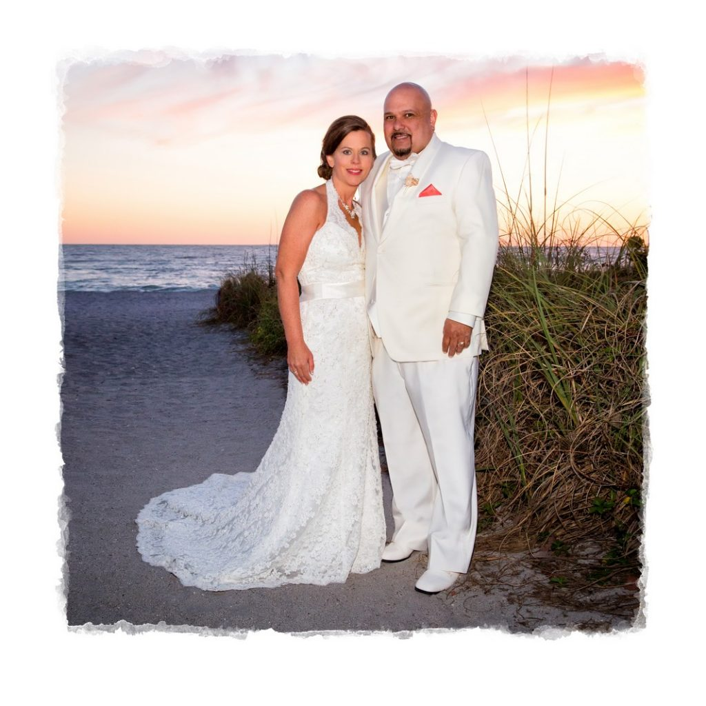 Bride and Groom on Englewood Beach FL