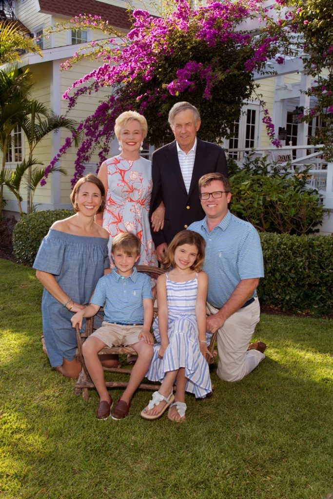 Outdoor family portrait at the Gasparilla Inn