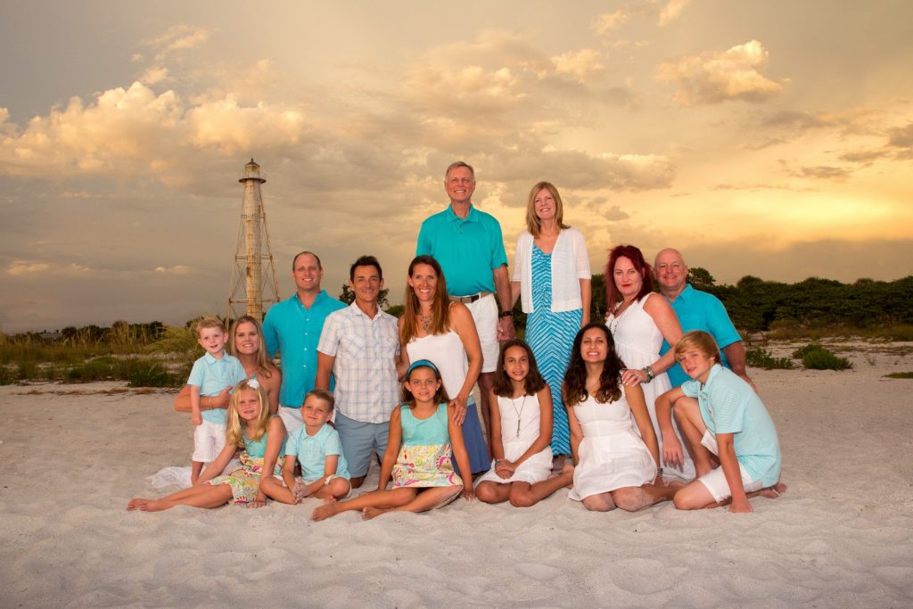 Family portrait at the Range Light in Boca Grande