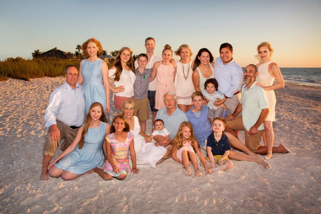 Large family portrait at the beach