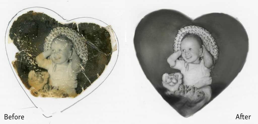 Badly Damaged Photo of a Baby - Before and After Restoration