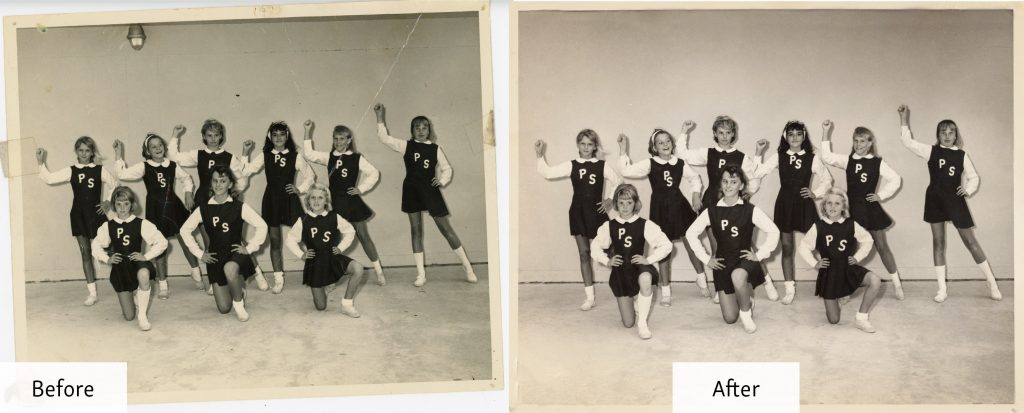 Restored Black and White Photo of Cheerleaders - Before and After Restoration