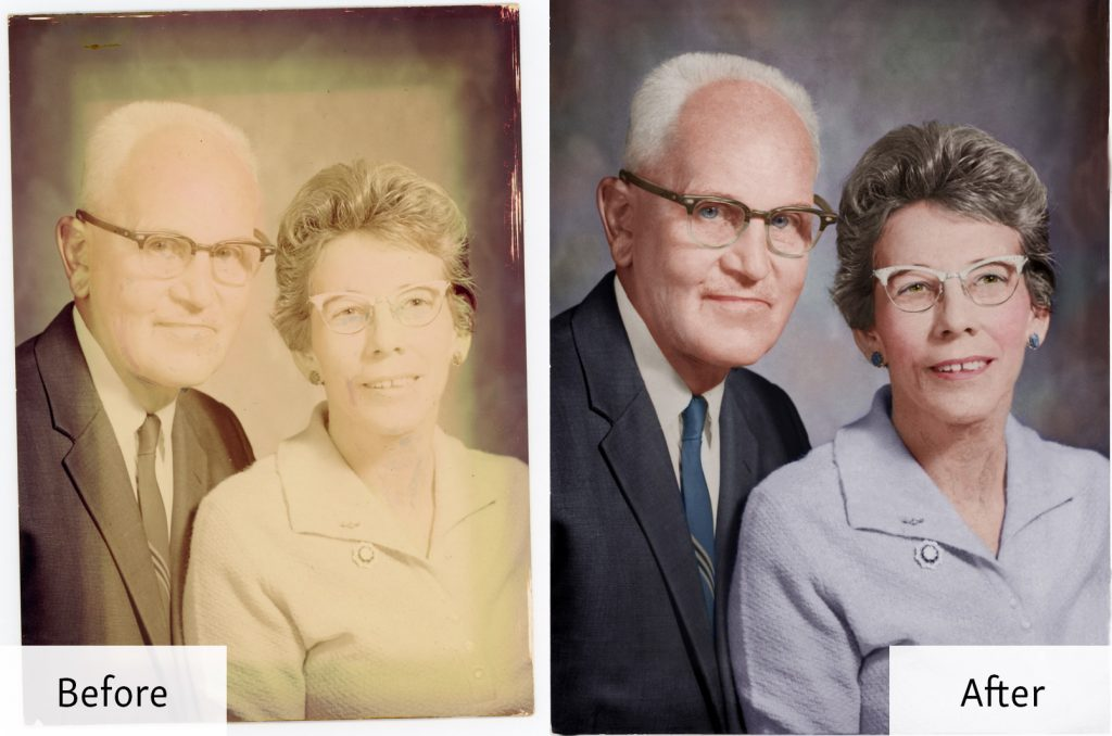 Restored portrait of a couple - before and after