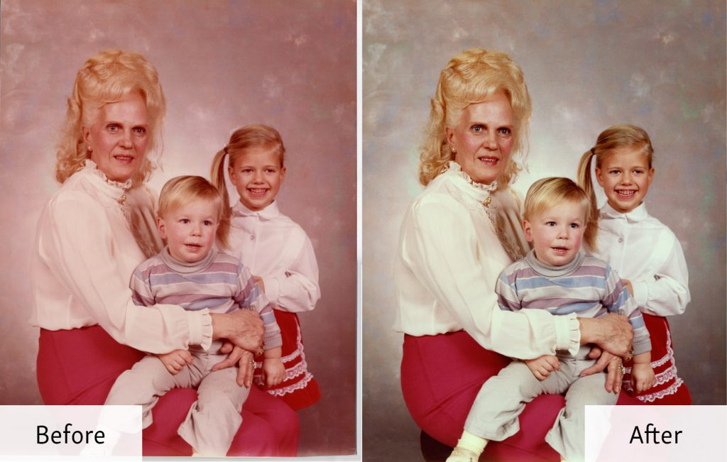 Restored Portrait of a Mother and Children - Before and After