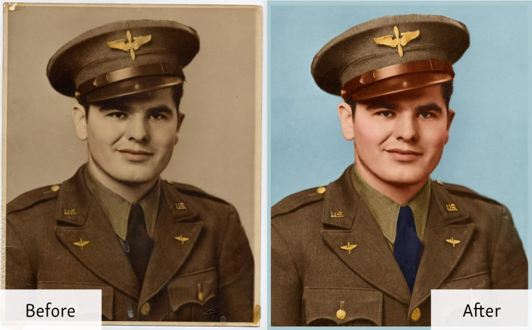 Before and after of a colorized photo of a young soldier
