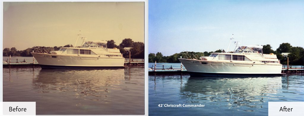 Restored Photo of a Yacht - Before and After