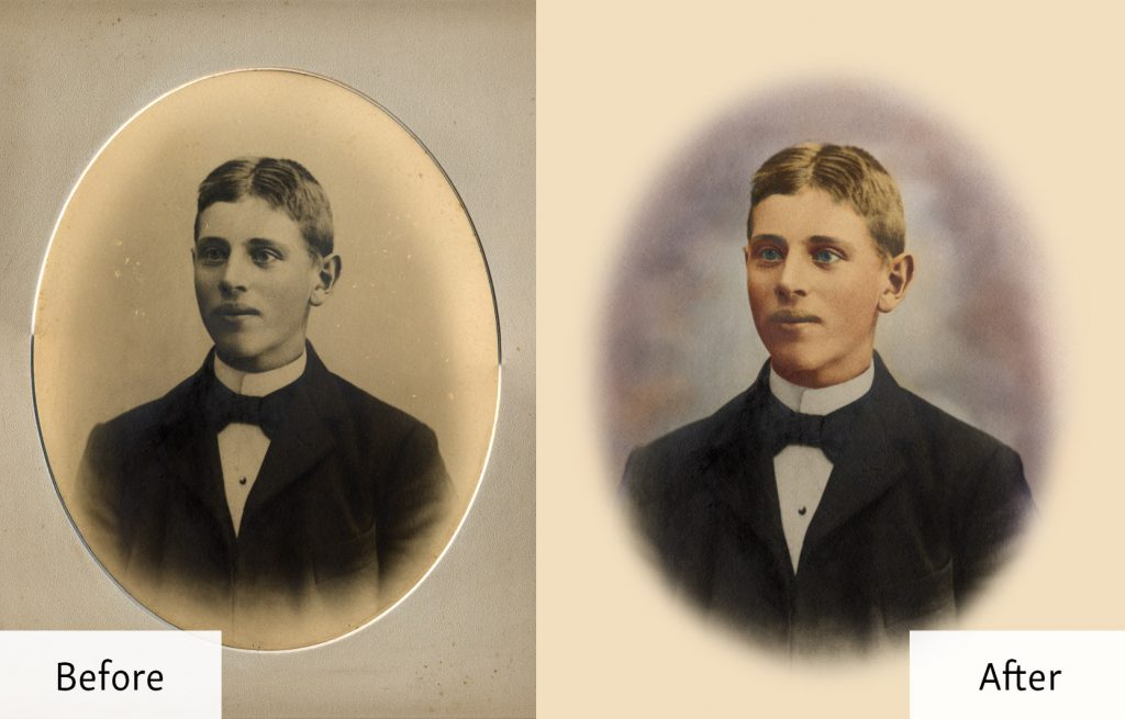 Photo Restoration and Color Job - Portrait of a Young Man - Before and After
