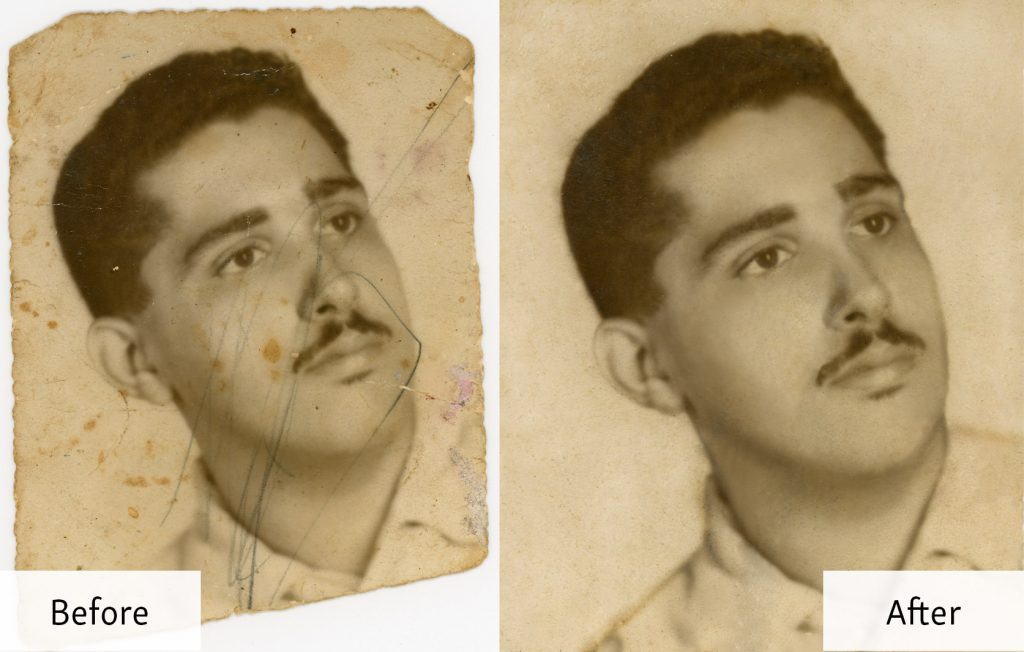 Photo Restoration - Portrait of a Young Man - Before and After